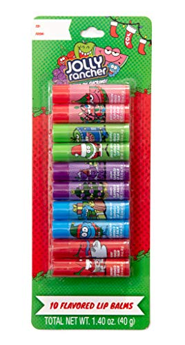 Jolly Rancher Flavored Lip Balms - 10 Pack - Christmas Holiday Themed Gift Set/Stocking -