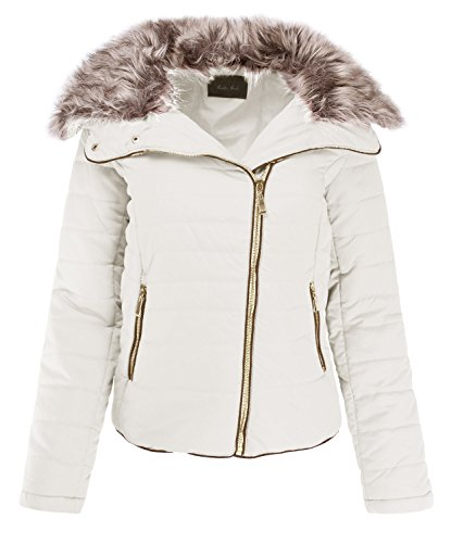 Hot Ladies' Code Women's Detachable Faux Fur Collar Striped Zip Up Quilted Padding Jacket hot sale