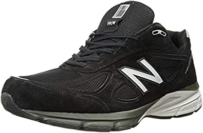 New Balance Men's M990V4 Running Shoe, Black/Silver, 7.5 4E US