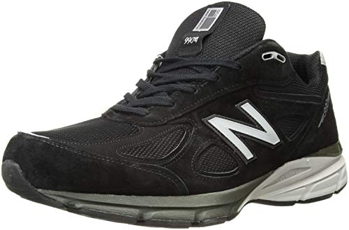 (New Balance Men's M990BK4 Running Shoe, Black/Silver, 14 4E US)