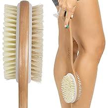 Vive Shower Brush - Dry Skin Body Exfoliator - Shower and Bath Scrubber For Wash Brushing, Exfoliating, Cellulite, Foot Scrub, Leg Exfoliant w/Soft and Stiff Massage Bristles - Wooden Long Handle