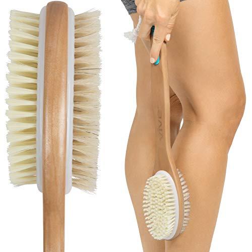 Body Scrub Brush - Vive Shower Brush - Dry Skin Body Exfoliator - Shower and Bath Scrubber For Wash Brushing, Exfoliating, Cellulite, Foot Scrub, Leg Exfoliant w/Soft and Stiff Massage Bristles - Wooden Long Handle