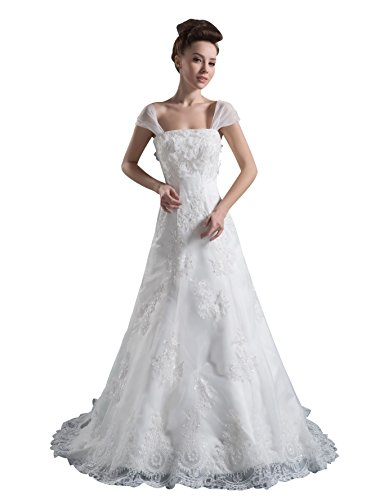 Vogue007 Womens Square Neck Satin Pongee Wedding Dress with Floral, ColorCards, 16 by Unknown