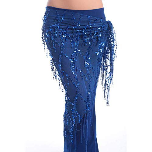 Yevison Belly Dance Sequined Fringed Triangle Towel Performance Dance Waist - Triangle Sequined