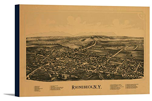 Rhinebeck, New York - Panoramic Map (36x21 7/8 Gallery Wrapped Stretched ()