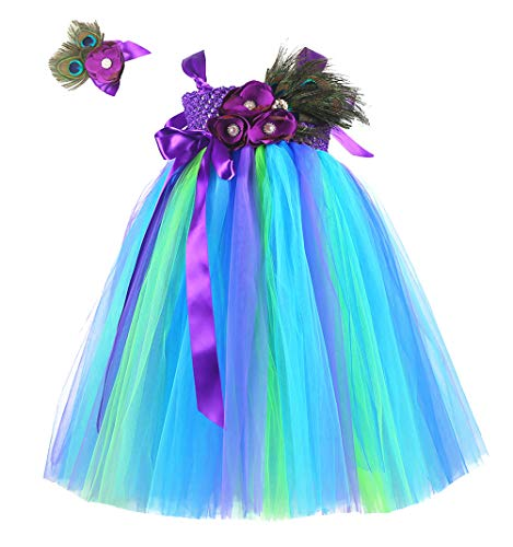 (Tutu Dreams Peacock Princess Costume for Toddler Girls Birthday Wedding Party (S,)