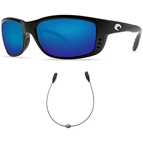 Costa Del Mar Zane Black 400G Blue Mirror Glass With Free - Costa Sunglasses Zane