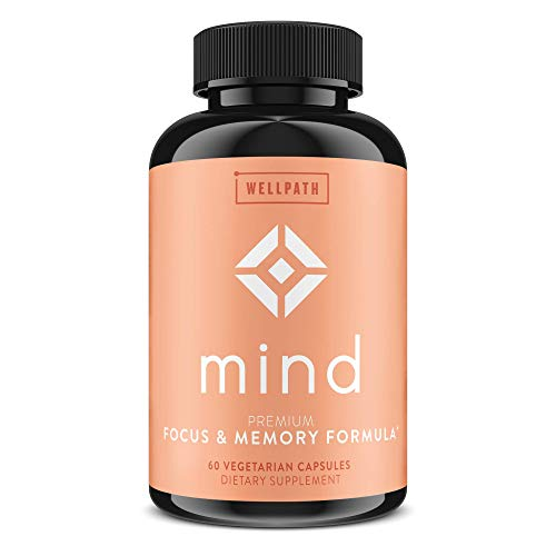 Mind Premium Brain Support Supplement - Natural Formula to Boost Focus & Memory - with Lion's Mane, Ginkgo Biloba, L-Theanine - Long Term Brain Support | 60 Veg. Capsules