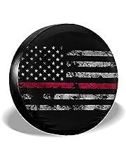 N\A Brandweerman Dunne Rode Lijn Amerikaanse Vlag Reservewiel Band Cover Grappige Waterdichte Bandenbeschermers Nieuwigheid