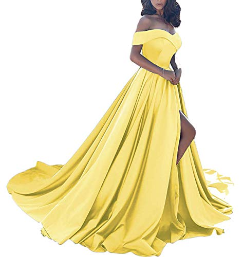 Homdor Split Off Shoulder Prom Evening Dress for Women A-Line Satin Formal Gown Yellow Size ()