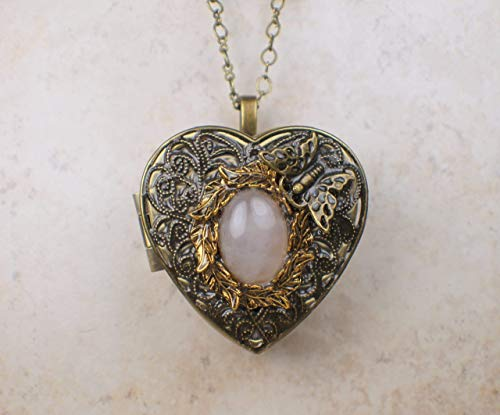 Butterfly Rose Quartz Music Box Locket in Bronze