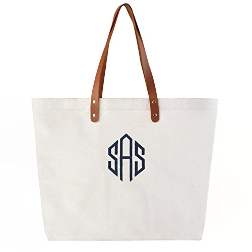PERSONALIZED Custom Gift Jumbo Tote Monogram Initial Diamond Embroidery Shoulder Bag with Interior Zip Pocket Canvas -