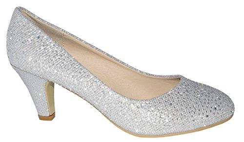 Klassische Damen Pumps Glitzer Stilettos Abendschuhe Party Hochzeit Größe 40, Farbe Silber