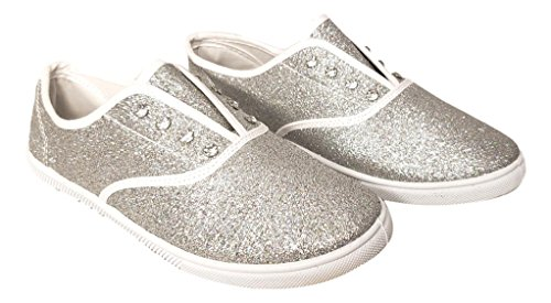 Cammie Womens Slip On Fashion Sneaker Glitter with Rhinestone Eyelets (Ladies 6 M, Silver)