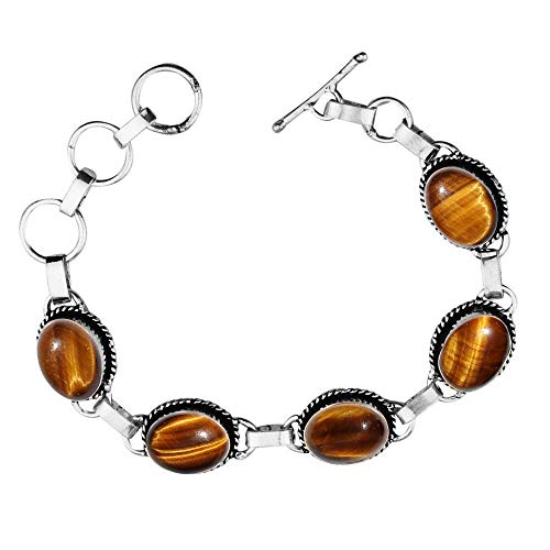 (Genuine Oval Shape Tiger Eye Link Five Stone Bracelet 925 Silver Overlay Handmade Vintage Bohemian Style Jewelry for Women Girls)