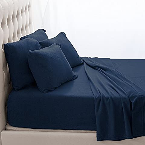 Fleece Super Soft Premium Sheet Set – Extra Plush Pill-Resistant All Season Cozy Breathable Hypoallergenic (Full XL, Dark - Blue Plush Mattress Set