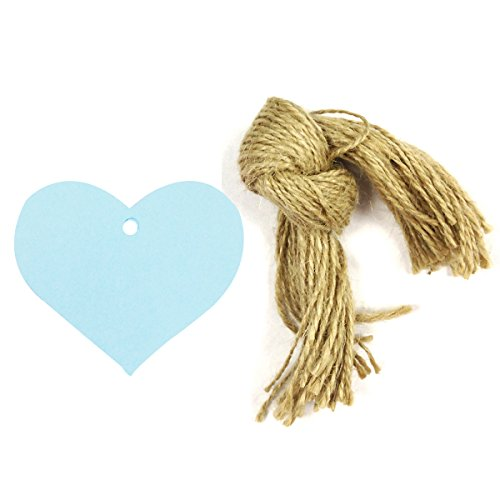 Wrapables 50 Count Gift Tags/Kraft Hang Tags with Free Cut Strings for Gifts, Crafts and Price Tags, Blue True Heart
