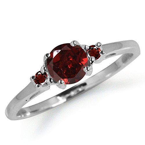 Petite Natural Garnet 925 Sterling Silver Ring Size 6.5