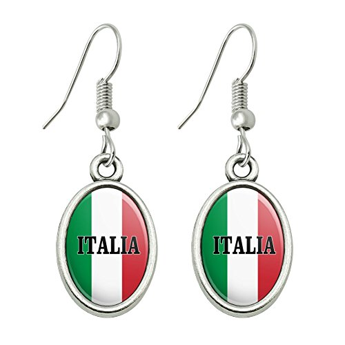 (GRAPHICS & MORE Italia Italy Italian Flag Novelty Dangling Drop Oval Charm Earrings)