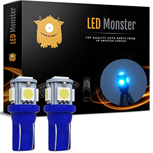 LED Monster 2x Ice Blue T10 194 168 Wedge 5-5050-SMD LED License Plate Light Lamp Bulb 12V