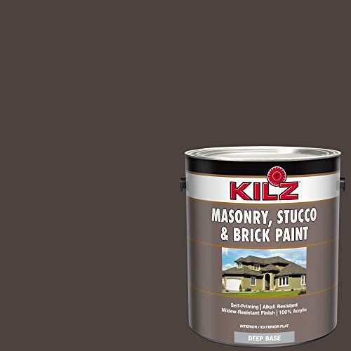 KILZ 13511101 L341011 Interior/Exterior Self-Priming Masonry, Stucco and Brick Flat Paint 1 Gallon Espresso Bark (Dark Chocolate Brown)
