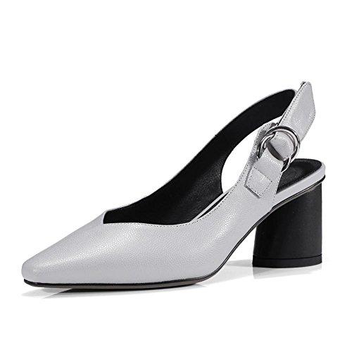 KJJDE Sandalias Mujer Zapatilla Chanclas WSXY-L0215 Relleno de Velcro Creativo EN Piel de Personalidad Confort Peep Toe Tacón Zapatos Para Caminar Light Grey
