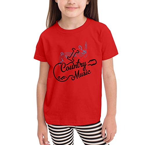 Unisex Baby I Love Country Music O Neck Toddler's Short Sleeve T Shirt for 2-6 Boys Girls Red -