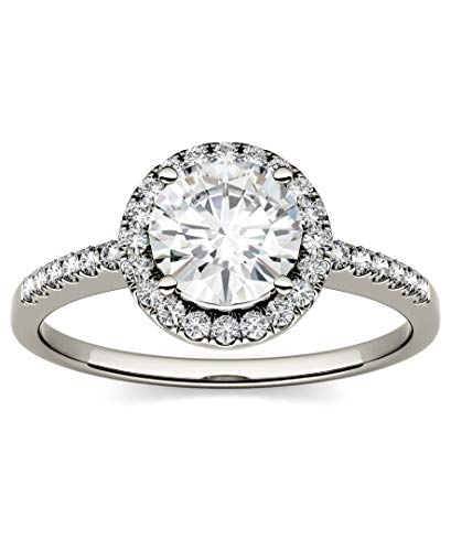 14K White Gold Moissanite by Charles & Colvard 6.5mm Round Engagement Ring-size 7, 1.30cttw DEW