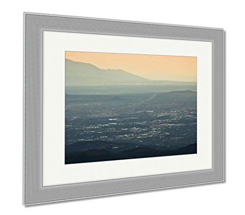 Ashley Framed Prints A Santa Fe At Dusk Aerial Shot, Wall Art Home Decoration, Color, 30x35 (frame size), Silver Frame, - Santa Fe Cerrillos