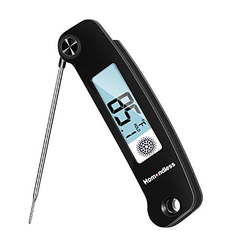 Digital Instant Read Meat Thermometer with Thermocouple Probe Ambidextrous Display Kitchen Cooking Food Thermometer IP67 Waterproof 2-inch Backlight LCD & Calibration for Grill Candy Oil Smoker