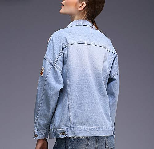 Nueva Jeans Novio De Mujeres Las Suelto Casual Algodón Chaqueta Chicas Corta Mezclilla Lightblue 100 parche AAxt1wfq