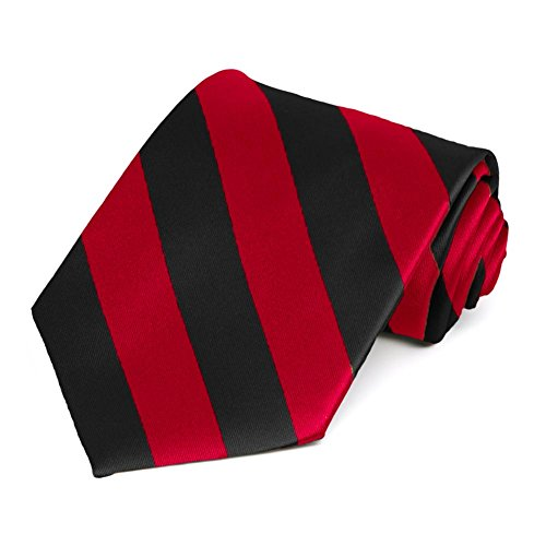 Satin Striped Extra Long Tie - TieMart Red and Black Extra Long Striped Tie
