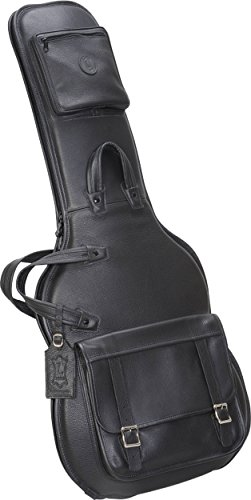 Deluxe Double Electric Bass - Levy's Leathers LM18-BLK Leather Deluxe Electric Guitar Bag, Black