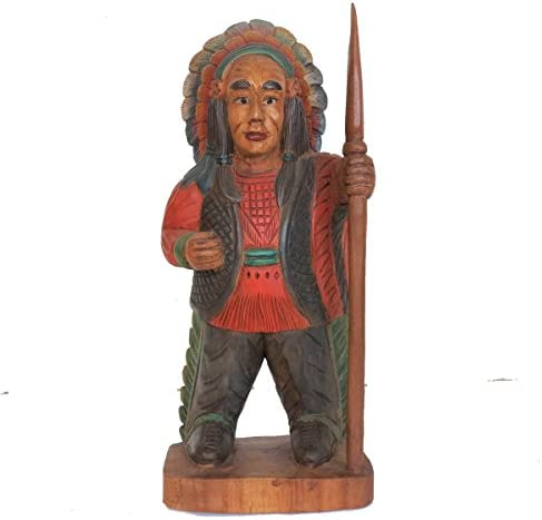 Discount Etnico Statua Busto PELLEROSSA in Legno H.50 CM.