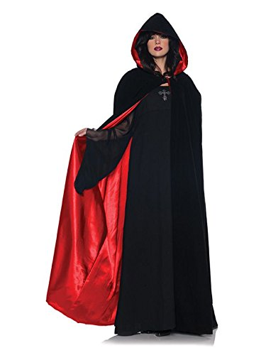 Deluxe Black Velvet and Red Satin Cape, Multi, One Size -