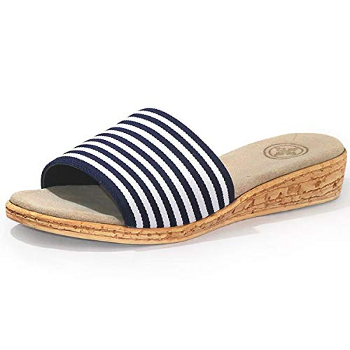 Seabrook Cork Wedge Slide Sandal - Navy Striped - Size 8 - by Charleston Shoe Co.