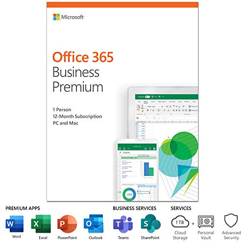 Microsoft Office 365 Business Premium | 12-month subscription, 1 person, PC/Mac Activation Card by Mail (Imac Office Software)