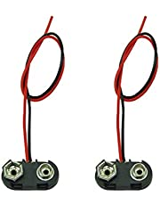 2 Pack PP3 MN1604 9V Battery Holder Clip Snap On Connector Cable Lead Black