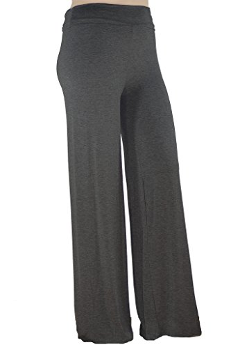 Stylzoo Women's Plus Size Stretchy Comfy Palazzo Solid Color Pants Super Model Grey 1X (Womens Plus Size Dress Slacks)