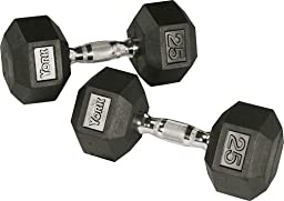 York Barbell 34060 Rubber Hex Dumbbell with Chrome Ergo Handle - 27.5 lbs