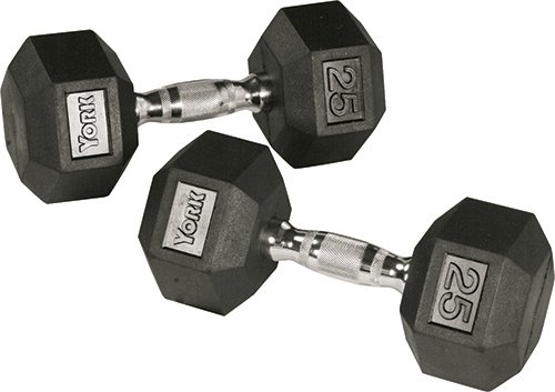 Cheap York Barbell 85 lb Rubber Hex Chrome Ergo Handle Dumbbells