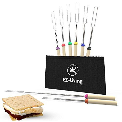 EZ-Living Marshmallow Roasting Sticks, Set of 8 Telescopic Extended Forks 32'', Stainless Steal with Wood Handle, for Smores, hot-Dogs, Perfect for Fire Pit Outdoor Fireplace Campfire, Great for Kids