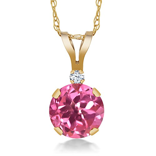 1.02 Ct Round Pink Mystic Topaz White Created Sapphire 14K Yellow Gold (Topaz 14k White Gold Necklace)