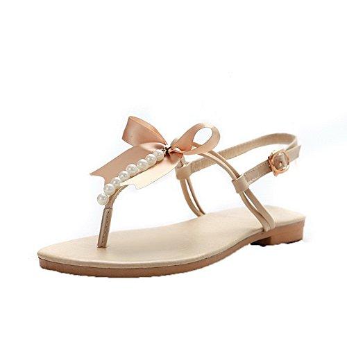 Aalardom Mujeres Split-toe Low-heels Pu Solid Hebilla Sandalias Beige