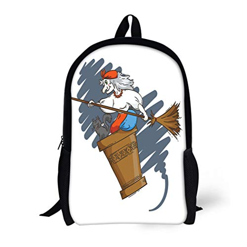 Pinbeam Backpack Travel Daypack Baba Yaga Flying in Mortar Cat and Broomstick Waterproof School Bag]()