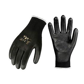 Vgo 15-Pairs Polyurethane Coated Gardening and Work Gloves (Size S,Black,PU2103)