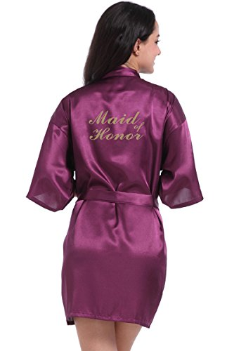 MoonRobe Kimono Satin Robes for Bride and Bridesmaid Wedding Party Getting Ready Robes with Gold Glitter]()