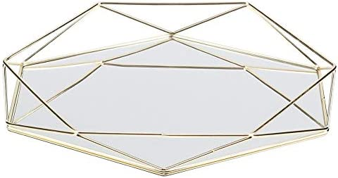 Cafopgrill Gold Spiegel Tablett, Schmuckablage Bad Sexangle Spiegel Metall Gold Kosmetik Schmuckablage Organizer Tablett Box Platte(Gold)