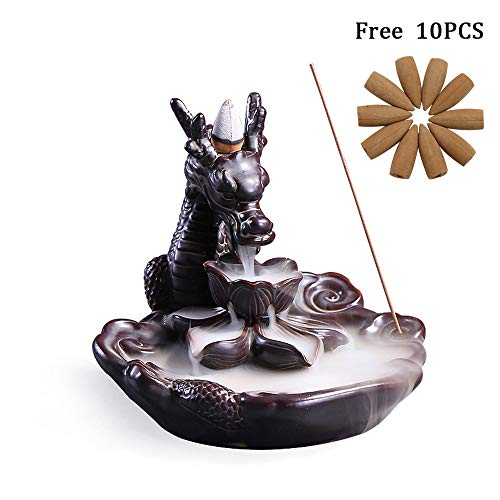 Dragon Backflow Incense Burner,Handmade Ceramic Incense Holders Incense Cone Sticks Holder Home Decor with 10PCS Cones
