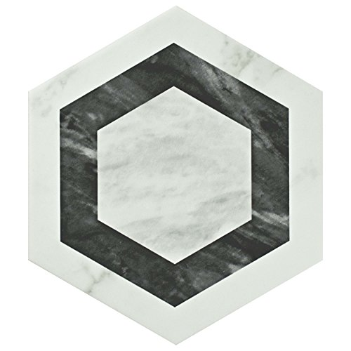 SomerTile FEQ8BXG Murmur Bardiglio Hexagon Porcelain Floor and Wall Tile, 7'' x 8'', Geo by SOMERTILE (Image #1)